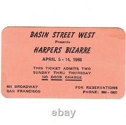 HARPERS BIZARRE Concert Ticket Stub SAN FRANCISCO APRIL 1968 BASIN STREET Rare