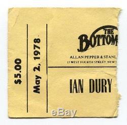 IAN DURY & THE BLOCKHEADS Concert Ticket Stub 5-2-1978 The Bottom Line New York