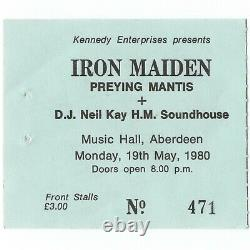 IRON MAIDEN Concert Ticket Stub ABERDEEN SCOTLAND UK 5/19/80 PAUL D'IANO Rare