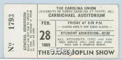 JANIS JOPLIN Chapel Hill Carmichael Auditorium Feb. 28, 1969 Concert Ticket Stub