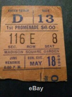 JIMI HENDRIX 1969 Original CONCERT TICKET STUB Madison Square Garden, NYC