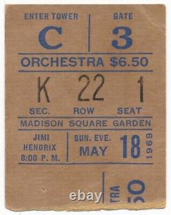 JIMI HENDRIX 1969 concert ticket stub Madison Square Garden NYC 5/18/69 RARE