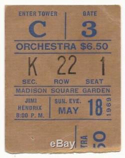 JIMI HENDRIX 1969 concert ticket stub Madison Square Garden NYC MSG New York NY