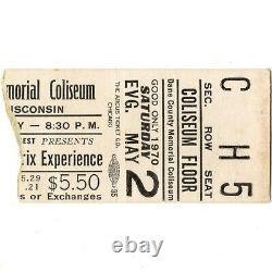 JIMI HENDRIX EXPERIENCE & OZ Concert Ticket Stub MADISON WI 5/2/70 DANE COUNTY
