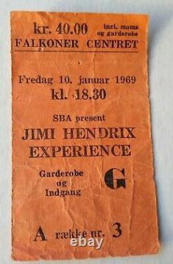 JIMI HENDRIX EXPERIENCE rare original 1969 European Danish concert ticket stub