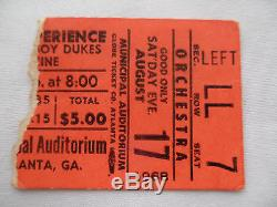 JIMI HENDRIX Original 1968 CONCERT Ticket STUB Atlanta, GA