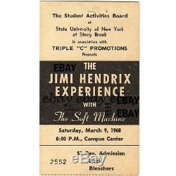 JIMI HENDRIX & THE SOFT MACHINE Concert Ticket Stub STONY BROOK NY 3/9/68 Rare