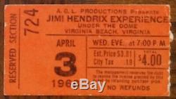 Jimi Hendrix-1968 RARE Concert Ticket Stub (Virginia Beach-Under the Dome)