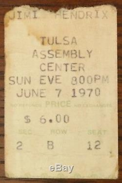 Jimi Hendrix-1970 RARE Original Concert Ticket Stub (Tulsa-Assembly Center)
