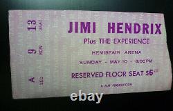 Jimi Hendrix 1970 San Antonio Texas Concert Ticket Stub