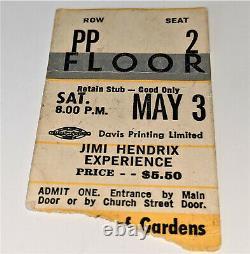 Jimi Hendrix Concert Ticket Stub Toronto MAPLE LEAF GARDENS May 3rd 1969 Canada