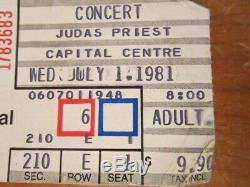 Judas Priest IAN HILL 1981 Genuine Concert Tour Used Guitar Pick & Ticket Stub