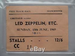 LED ZEPPELIN 1969 Original CONCERT Ticket STUB Manchester, England