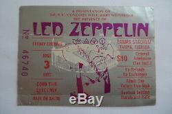 LED ZEPPELIN 1977 Original CONCERT TICKET STUB RIOT SHOW Tampa, FL EX