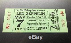 LED ZEPPELIN CONCERT TICKET STUB UNUSED May 7, 1973 JACKSONVILLE FLORIDA