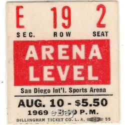 LED ZEPPELIN & JETHRO TULL Concert Ticket Stub SAN DIEGO CA 8/10/69 SPORTS ARENA