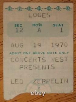 LED ZEPPELIN-John Bonham-1970 RARE Concert Ticket Stub (Kansas City)