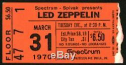 LED ZEPPELIN-John Bonham-1970 RARE Concert Ticket Stub (Philadelphia Spectrum)