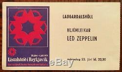 LED ZEPPELIN-John Bonham-1970 RARE Concert Ticket Stub (Reykjavik, Iceland)