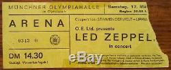LED ZEPPELIN-John Bonham-1973 RARE Concert Ticket Stub (Munich-Olympiahalle)