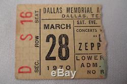 LED ZEPPELIN Original 1970 CONCERT Ticket STUB Dallas, TX