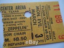 LED ZEPPELIN Original 1975 CONCERT TICKET STUB Fort Worth, TX EX+