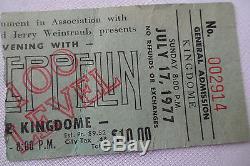 LED ZEPPELIN Original 1977 CONCERT Ticket STUB Seattle