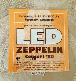 LED ZEPPELIN Over Europe 1980 Rare Vintage Concert Tour T-shirt with TICKET Stub