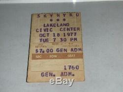 LYNYRD SKYNYRD RARE Original October 18 1977 Concert Ticket stub Ronnie Van Zant