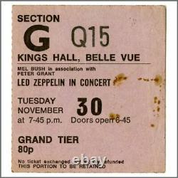 Led Zeppelin 1971 Kings Hall Belle Vue Manchester Concert Ticket Stub (UK)