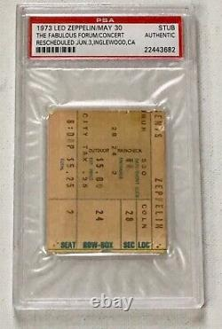 Led Zeppelin 1973 Concert Ticket Stub Los Angeles PSA