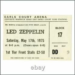 Led Zeppelin 1975 Earls Court Concert Ticket Stub Row DD Seat 9 (UK)