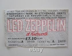 Led Zeppelin Knebworth Park 1979 UK 2-Part Concert Ticket Stub