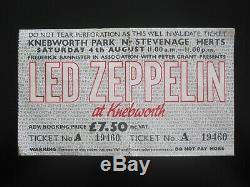 Led Zeppelin Knebworth Park UK 1979 Unused 2-Part Concert Ticket Stub