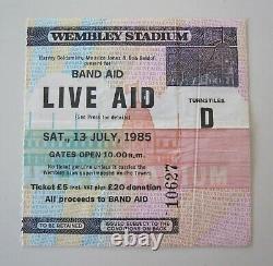 Live Aid 1985 Concert Ticket Stub UK Queen Freddie Mercury David Bowie U2 Who