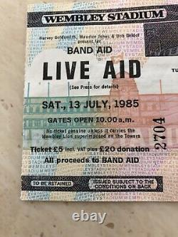 Live Aid Used Concert Ticket Stub Immaculate Condition