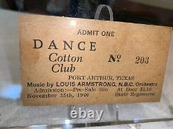 Louis Armstrong 1940 Concert Ticket Stub In Case Cotton Club Port Arthur Texas