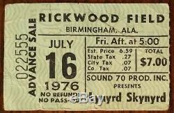 Lynyrd Skynyrd-1976 RARE Concert Ticket Stub (Birmingham-Rickwood Field)