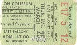 Lynyrd Skynyrd 1976 Tour Sam Houston Coliseum Concert Ticket Stub / Vg 2 Ex