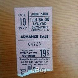 Lynyrd Skynyrd Very Last Concert Ticket Stub 1977 RARE