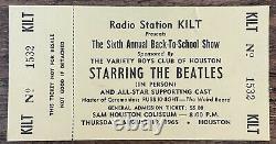 MEGA RARE 1965 Beatles Full CONCERT TICKET Houston TX (not a stub!) KILT Radio