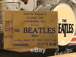 MEGA RARE Beatles Concert Ticket Stub Atlantic City 1964 Gold Ringside Seat