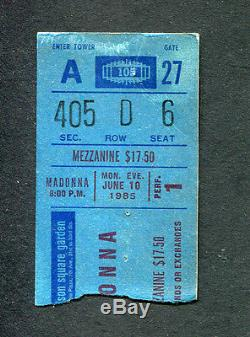 Madonna 1985 Virgin World Tour Concert Ticket Stub Madison Square Garden NY