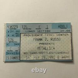 Metallica Providence Civic Center Concert Ticket Stub Vintage February 1992