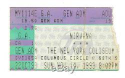 NIRVANA 1993 Concert TICKET STUB 11/14/93 NEW YORK CITY Kurt Cobain In Utero 90s