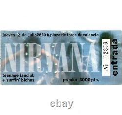 NIRVANA Concert Ticket Stub VALENCIA SPAIN 7/2/92 KURT COBAIN NEVERMIND TOUR
