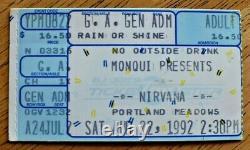 NIRVANA Ticket Stub 8-22-92 Portland Ore No On 9 Gay Rights Benefit Concert RARE