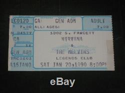Nirvana 1990 Concert Ticket Stub Legends Club Tacoma Washingtonbeyond Rare