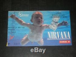 Nirvana 1992 Concert Ticket Stuble Zenith Paris France6/24/92kurt Cobain