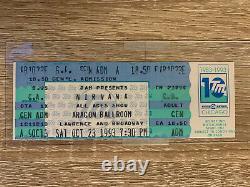 Nirvana Argon Ballroom Chicago IL Unused Concert Ticket 10/23/93 Full Stub Tour
